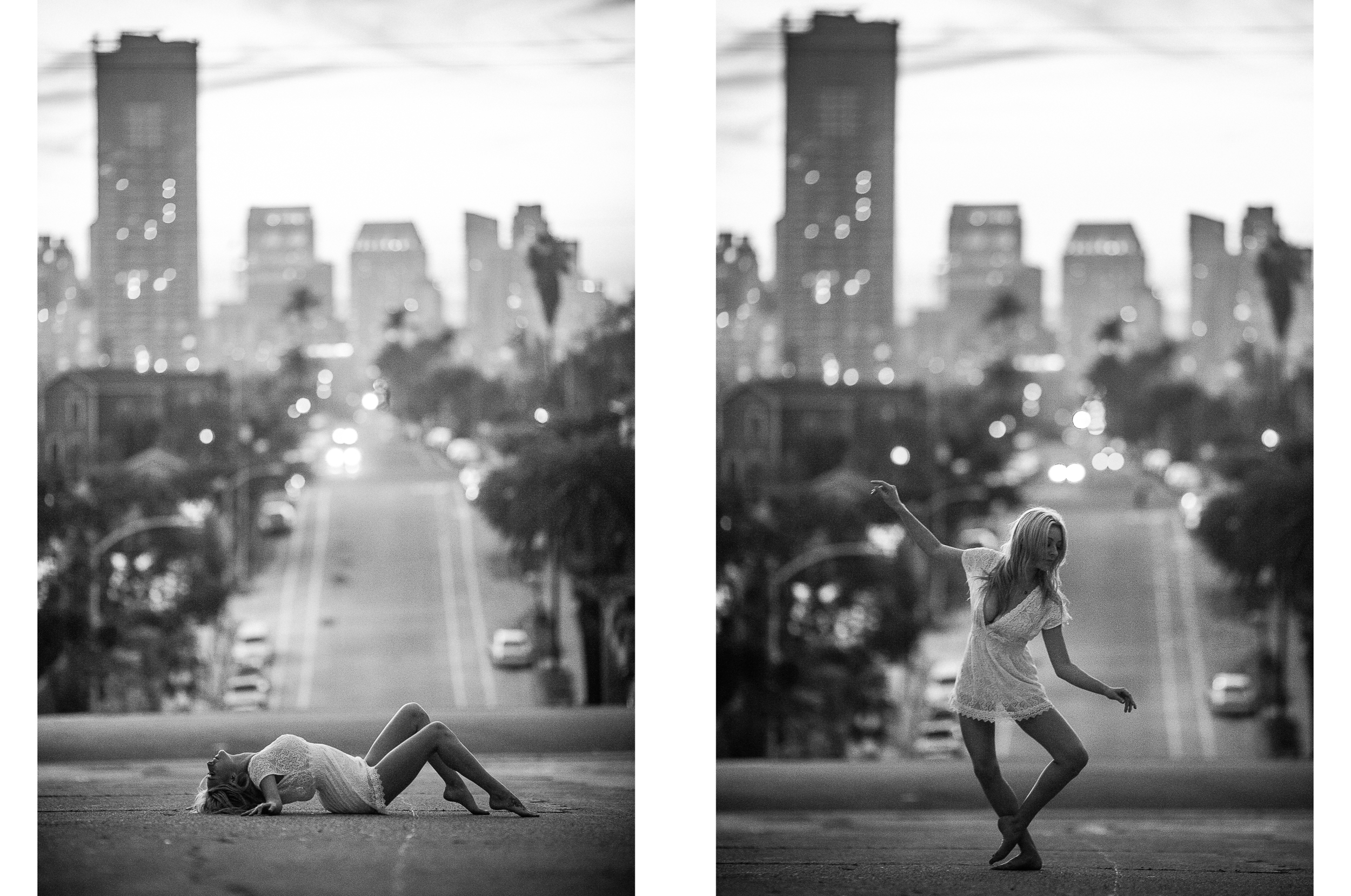 san diego wedding   photographer | monotone collage of blonde woman lying down and dancing in   middle of street