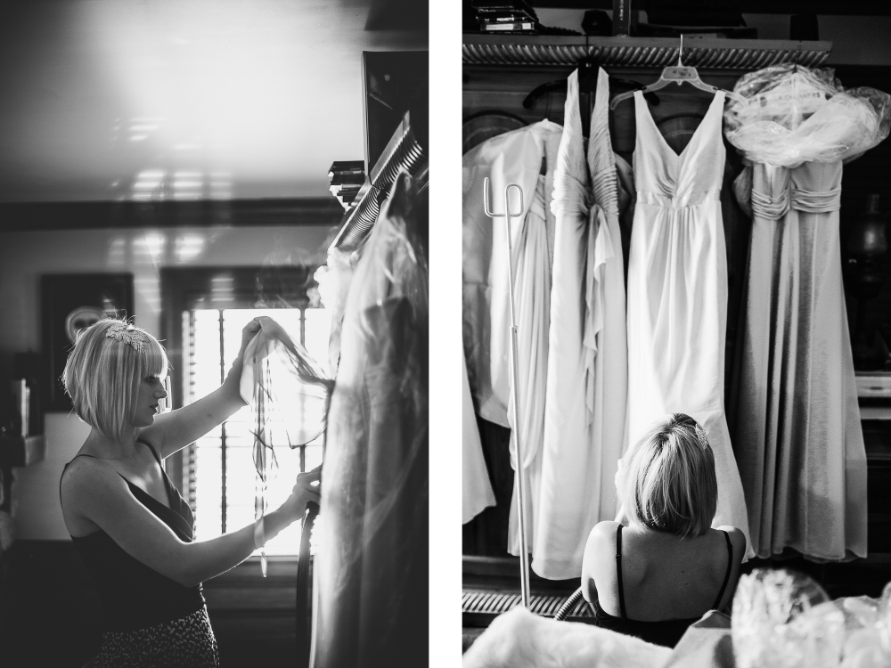 san diego wedding   photographer | monotone collage of woman looking at wedding dresses
