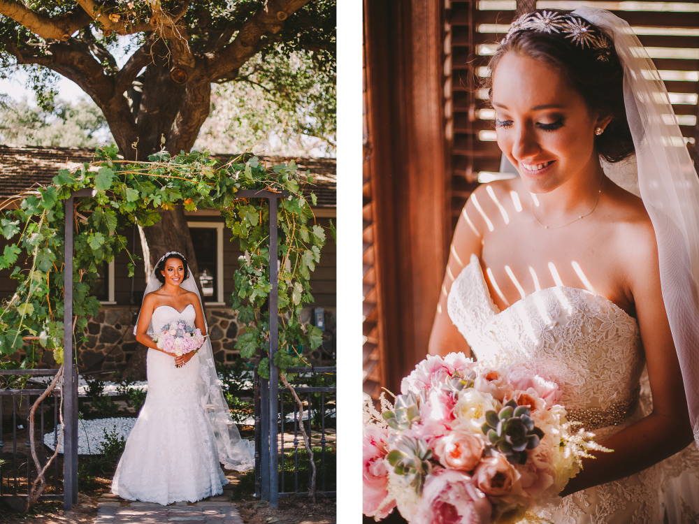 san diego wedding   photographer   collage of bride in wedding dress under gate and with bouquet
