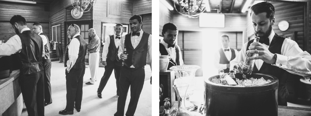 san diego wedding   photographer | monotone collage of group of men in vests with beer