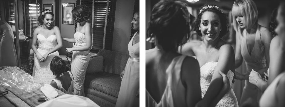 san diego wedding   photographer   monotone collage of women getting ready helping bride