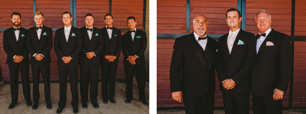 san diego wedding   photographer   collage of groomsmen in suits standing smiling in front of   wooden wall