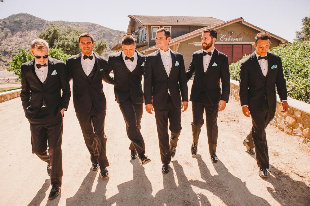 san diego wedding   photographer   groomsmen suits walking side by side