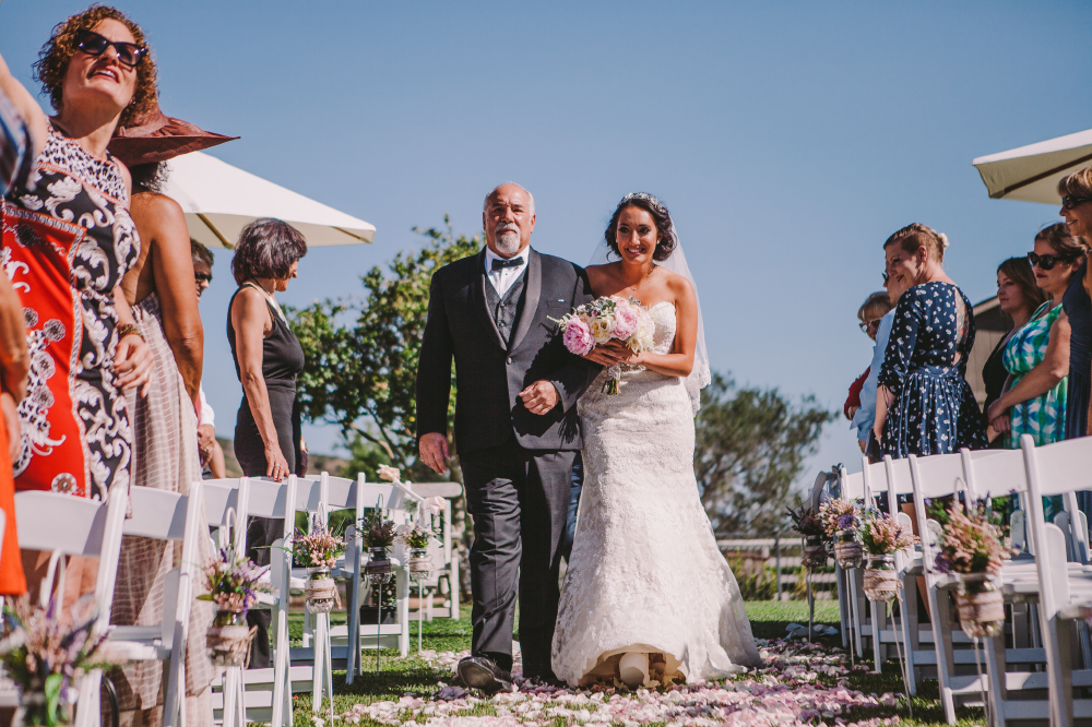 san diego wedding   photographer   bride being walked down the aisle with her father