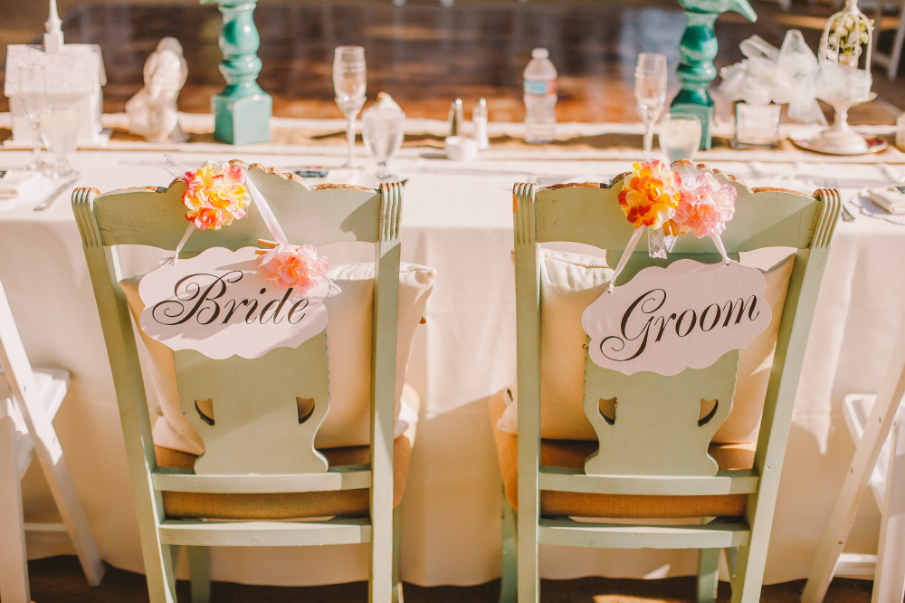 san diego wedding   photographer | back of bride and groom's chairs