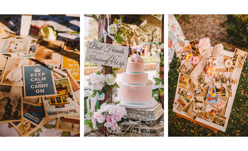 san diego wedding   photographer | collage of postcards and a wedding cake