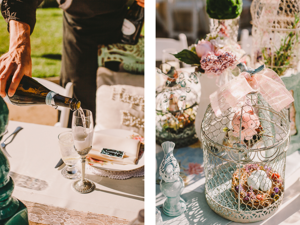 san diego wedding   photographer   collage of man pouring champagne in glass and a cage with eggs   in it