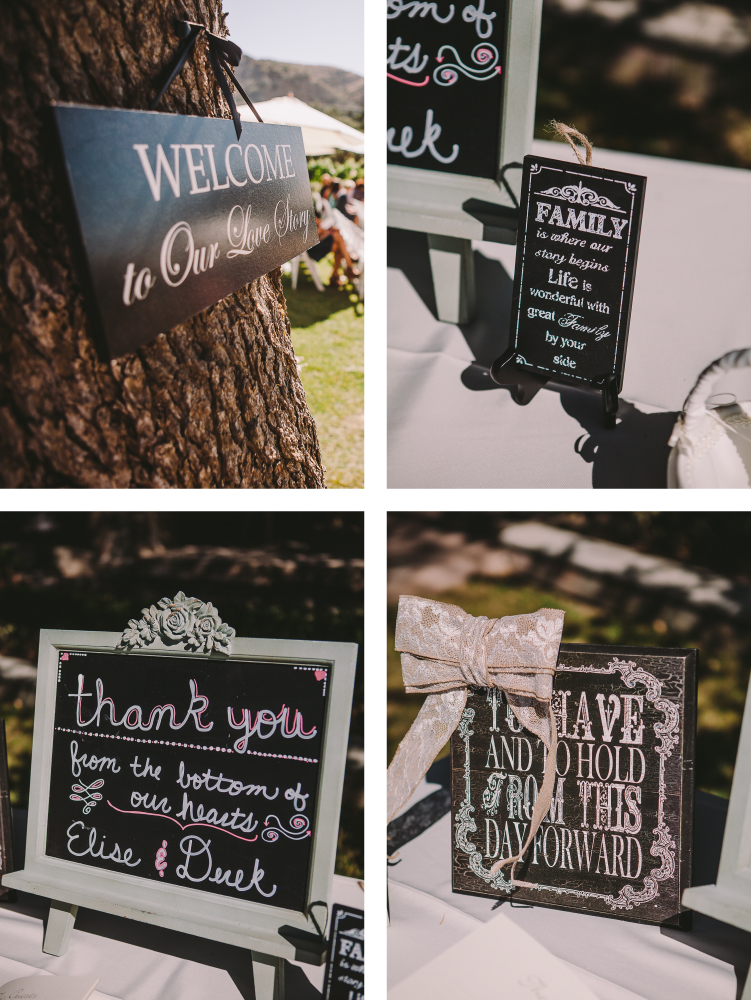 san diego wedding   photographer   collage of signs hanging on tree and on table