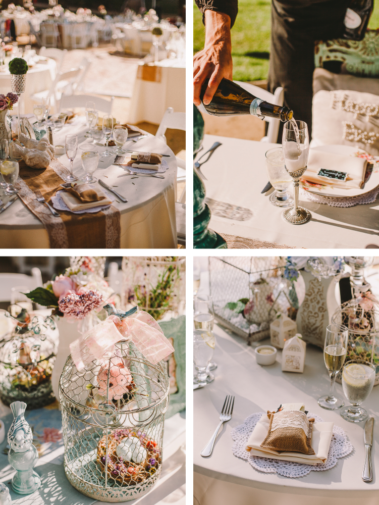 san diego wedding   photographer   collage of table set up and man pouring champagne in glass