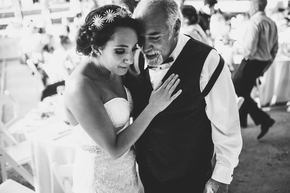 san diego wedding   photographer   monotone shot of bride with hand on father in suit's chest