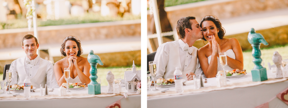san diego wedding   photographer   collage of newly wed couple sitting down with groom kissing   bride's cheek