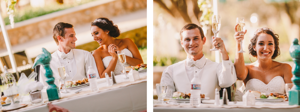 san diego wedding   photographer   collage of newly wed couple raising glasses full of champagne