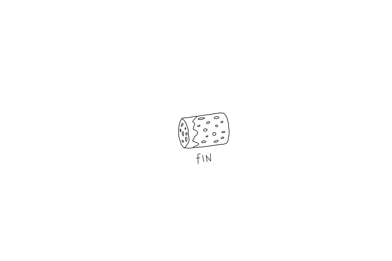 "san diego wedding   photographer   drawing of a cork and ""fin"" written below"