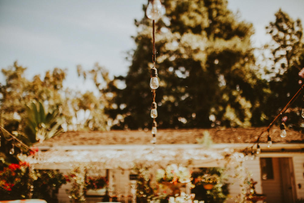 san diego wedding   photographer   shot of backyard with lightings in focus