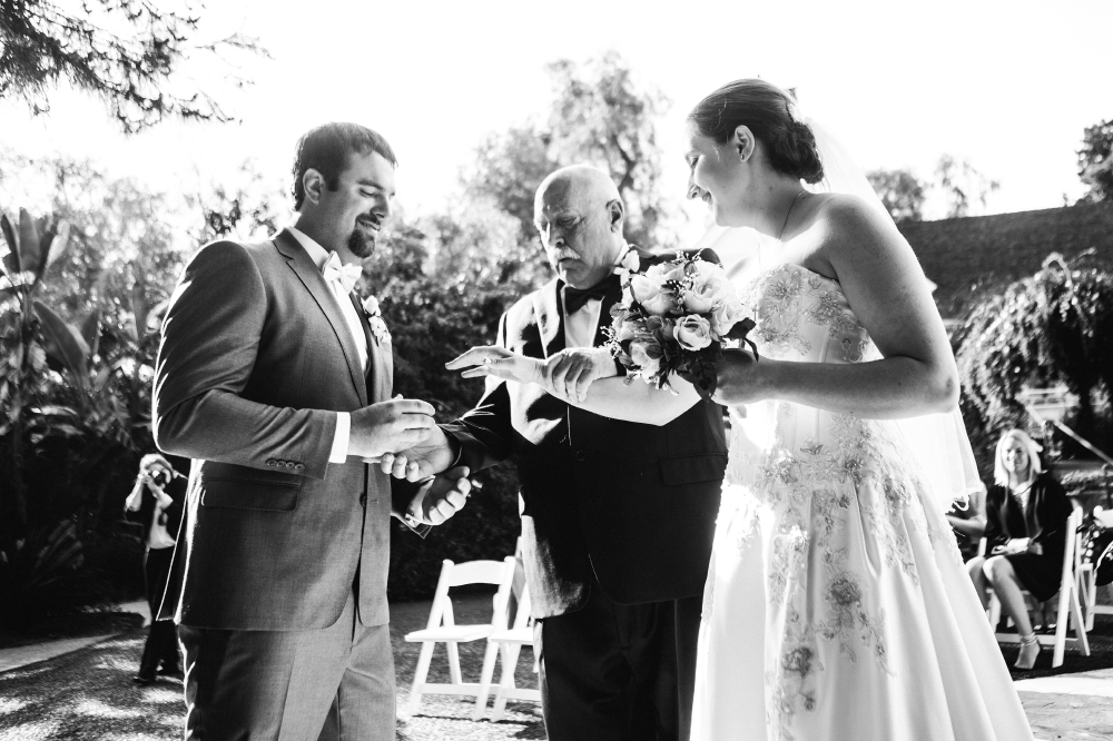 san diego wedding   photographer   monotone shot of bride about to reach for groom's hand