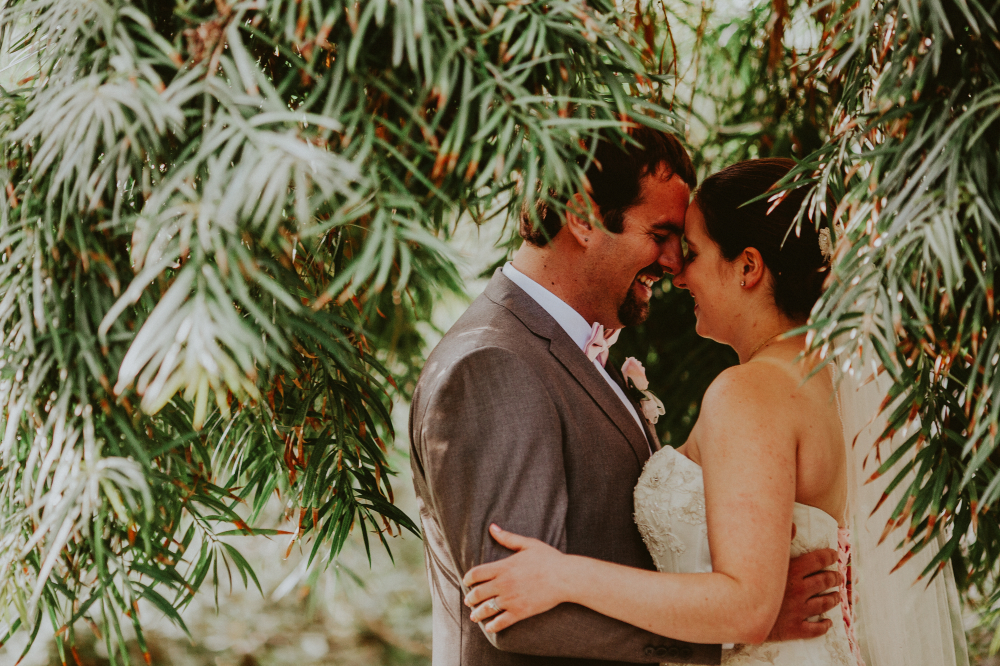 san diego wedding   photographer   bride and groom holding each other close between trees