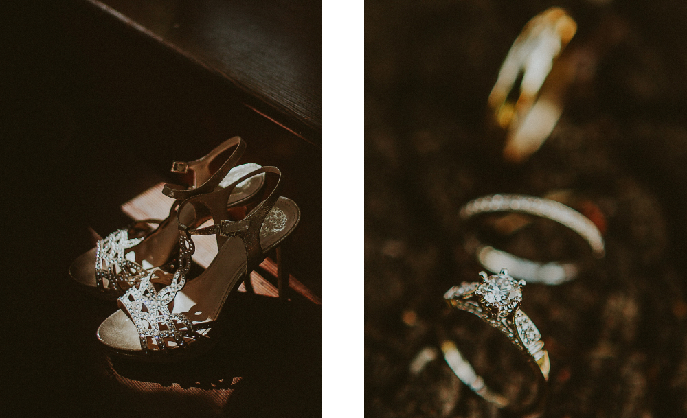 san diego wedding   photographer   collage of shoes with gems and rings