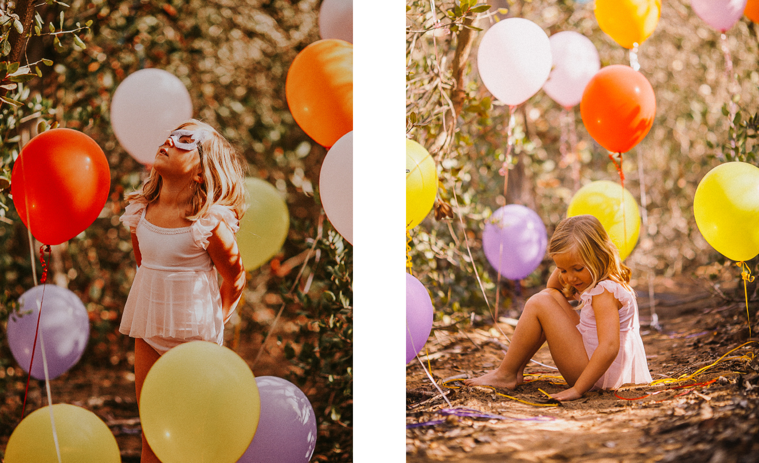 san diego wedding   photographer   collage of child in white surrounded by balloons