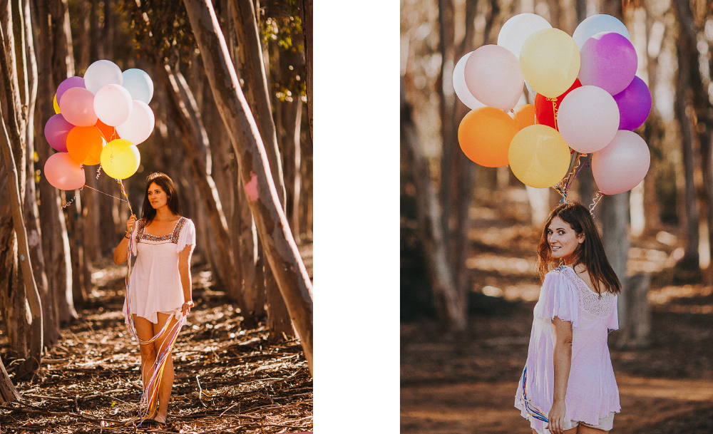 san diego wedding   photographer   collage of woman in white carrying balloons