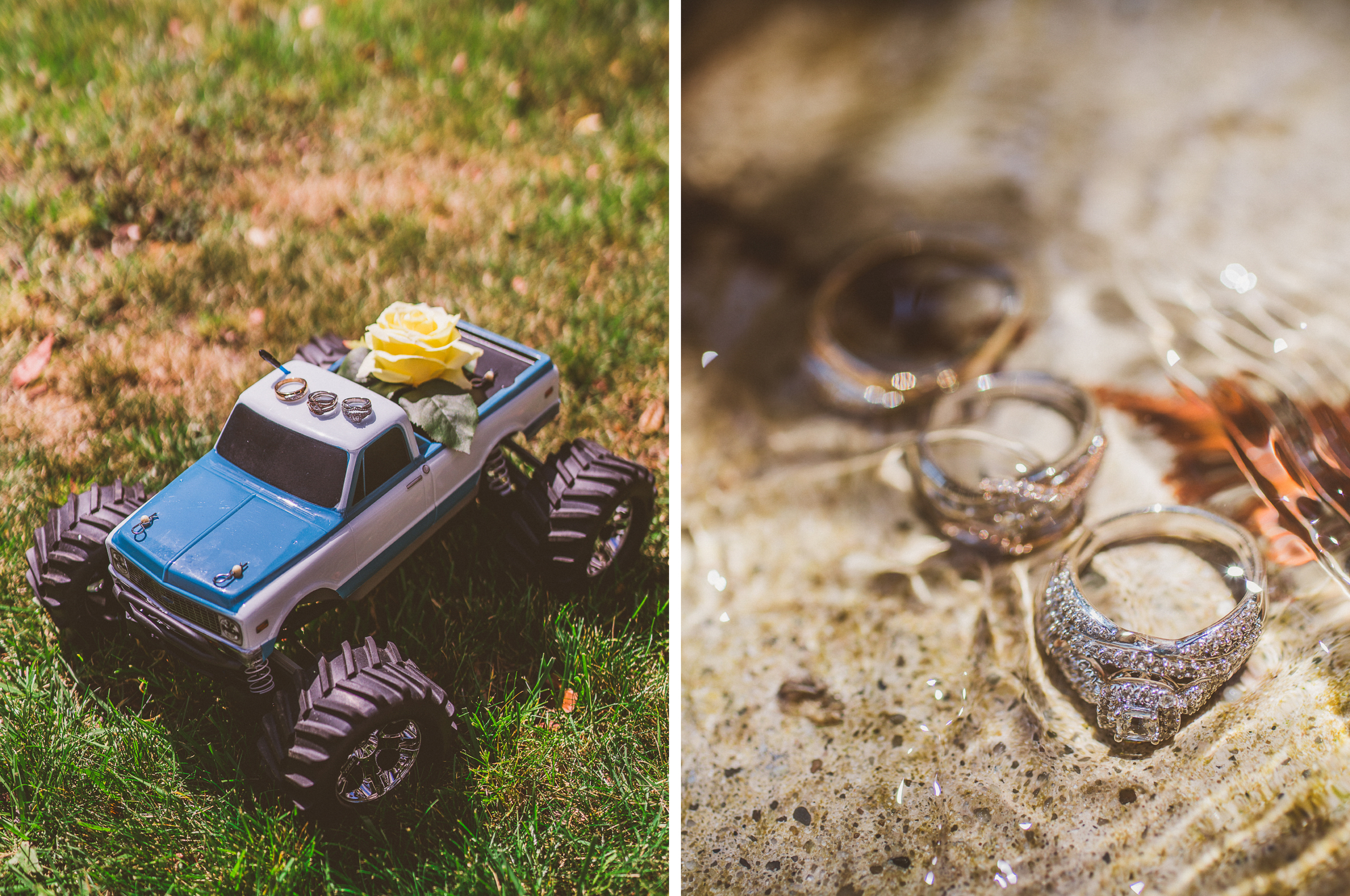 san diego wedding   photographer   collage of toy truck and rings