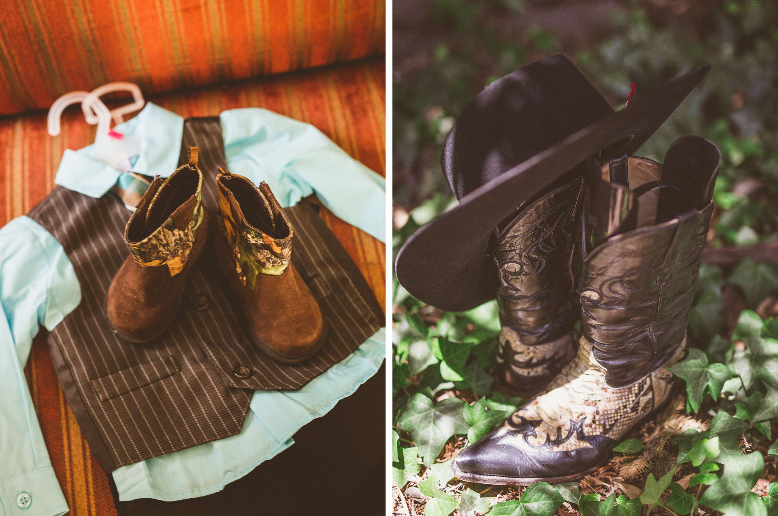 san diego wedding   photographer   collage of shirt and cowboy boots