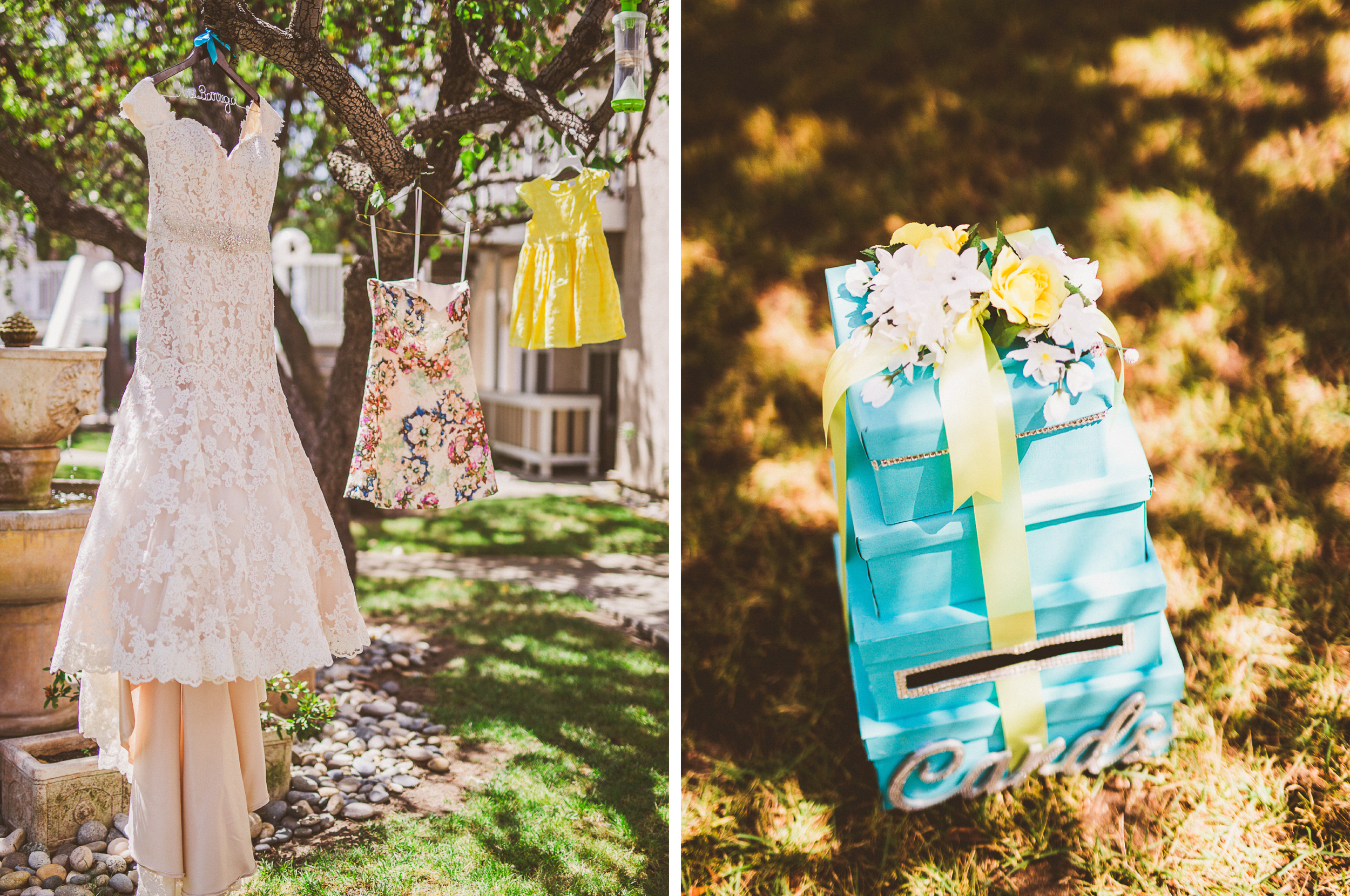 san diego wedding   photographer   collage of dresses on a tree and gift boxes