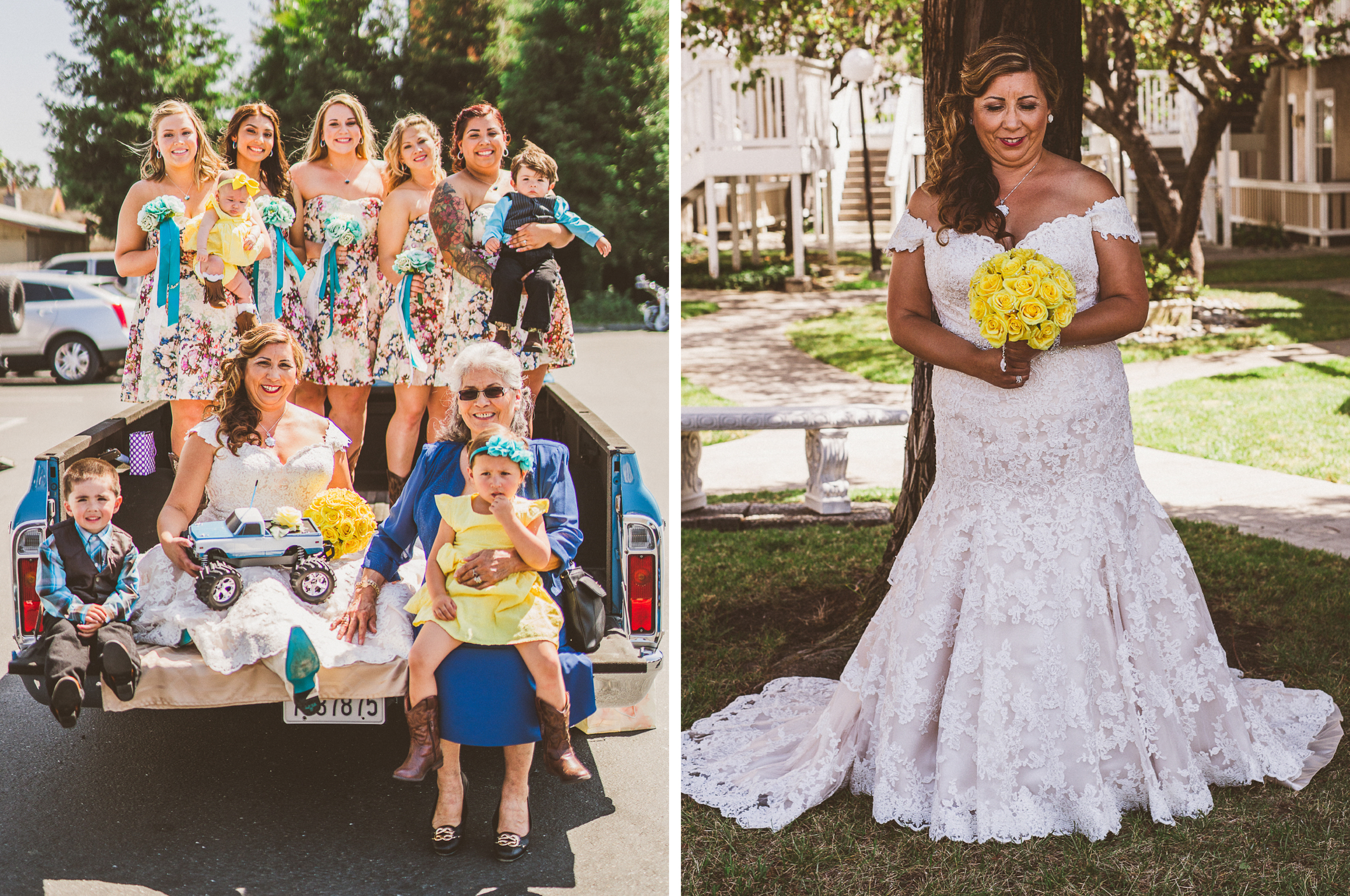 san diego wedding   photographer   collage of bridesmaids and children on pick-up truck and bride