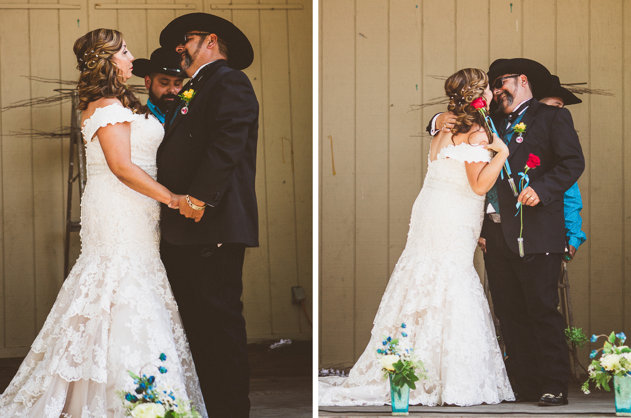 san diego wedding   photographer   collage of bride and groom with red roses about to kiss