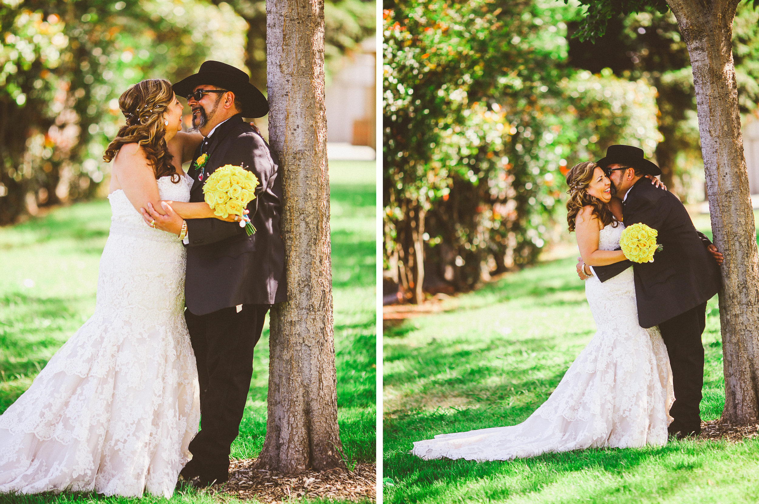 san diego wedding   photographer   collage of groom with cowboy hat leaning over to kiss bride on   cheek