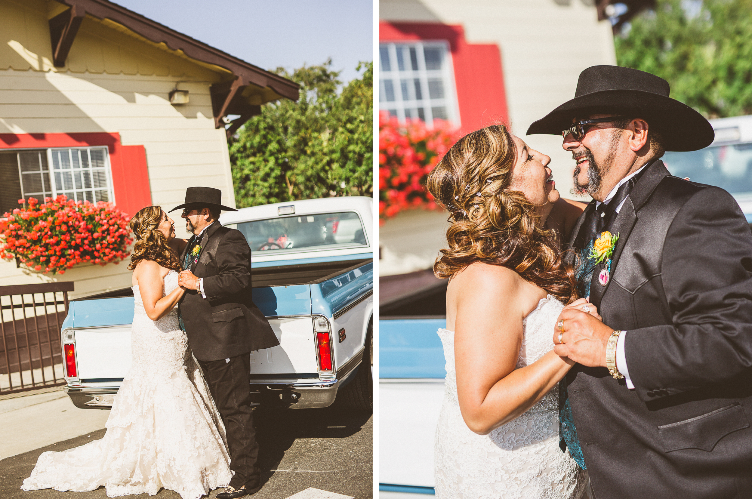 san diego wedding   photographer   collage of couple in slow dance position behind blue pickup   truck