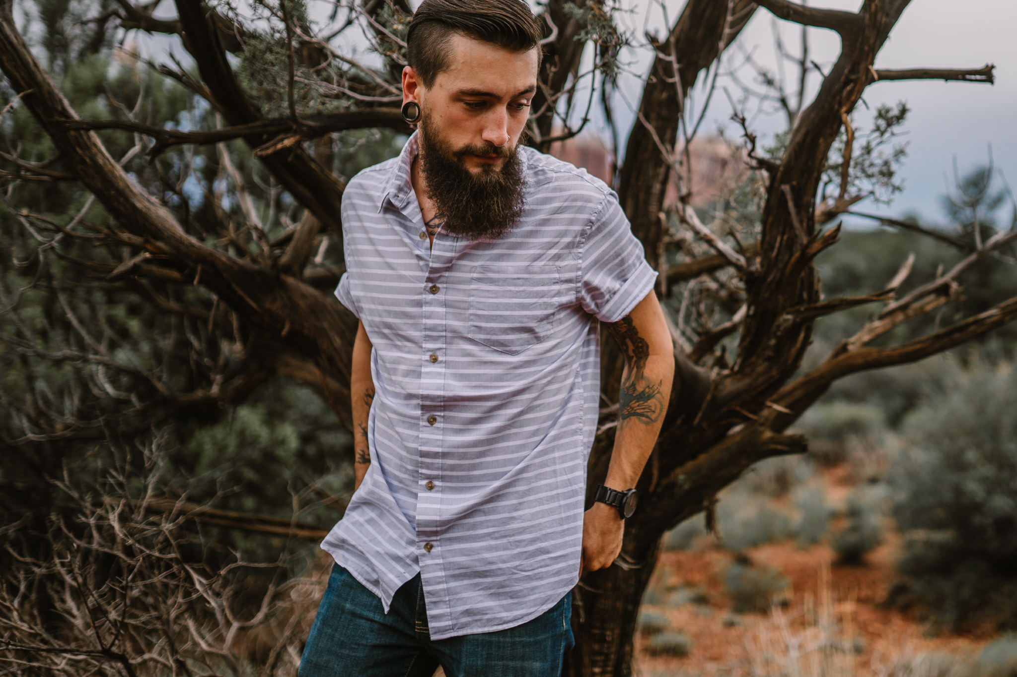 san diego wedding   photographer | bearded man in blue with dead tree in background