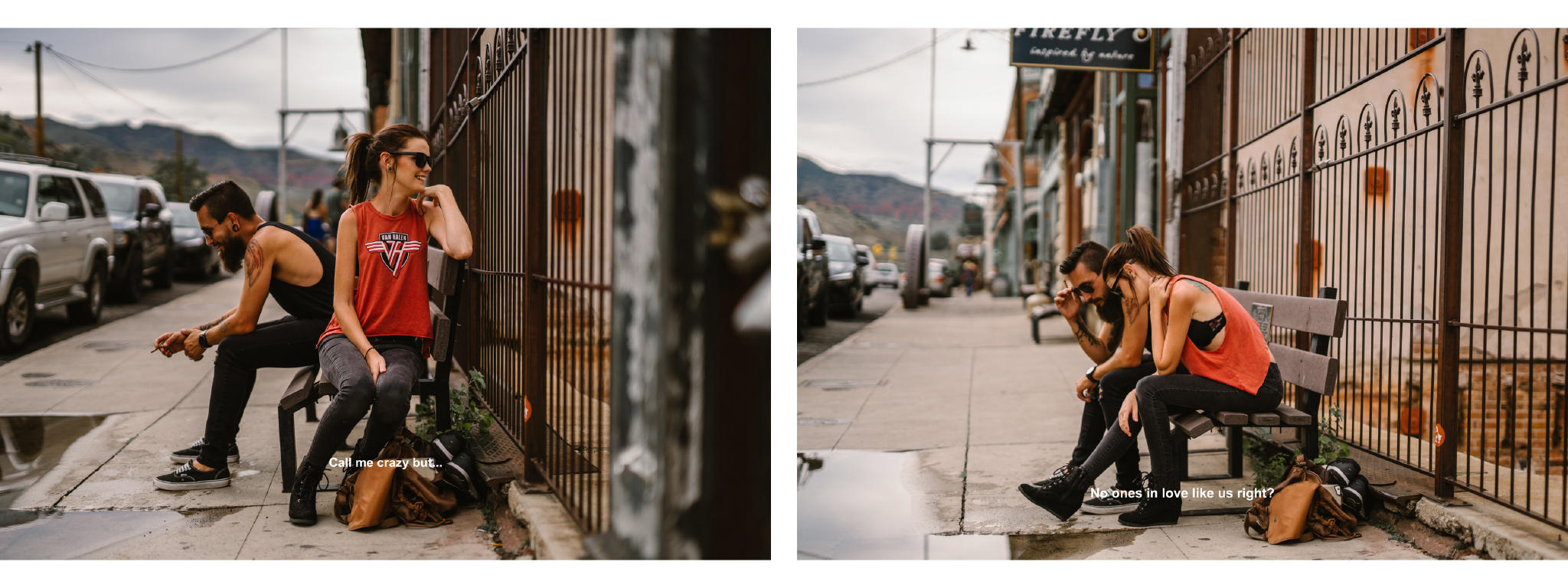 san diego wedding   photographer | collage of man and woman sitting on bench with metal gate   behind them