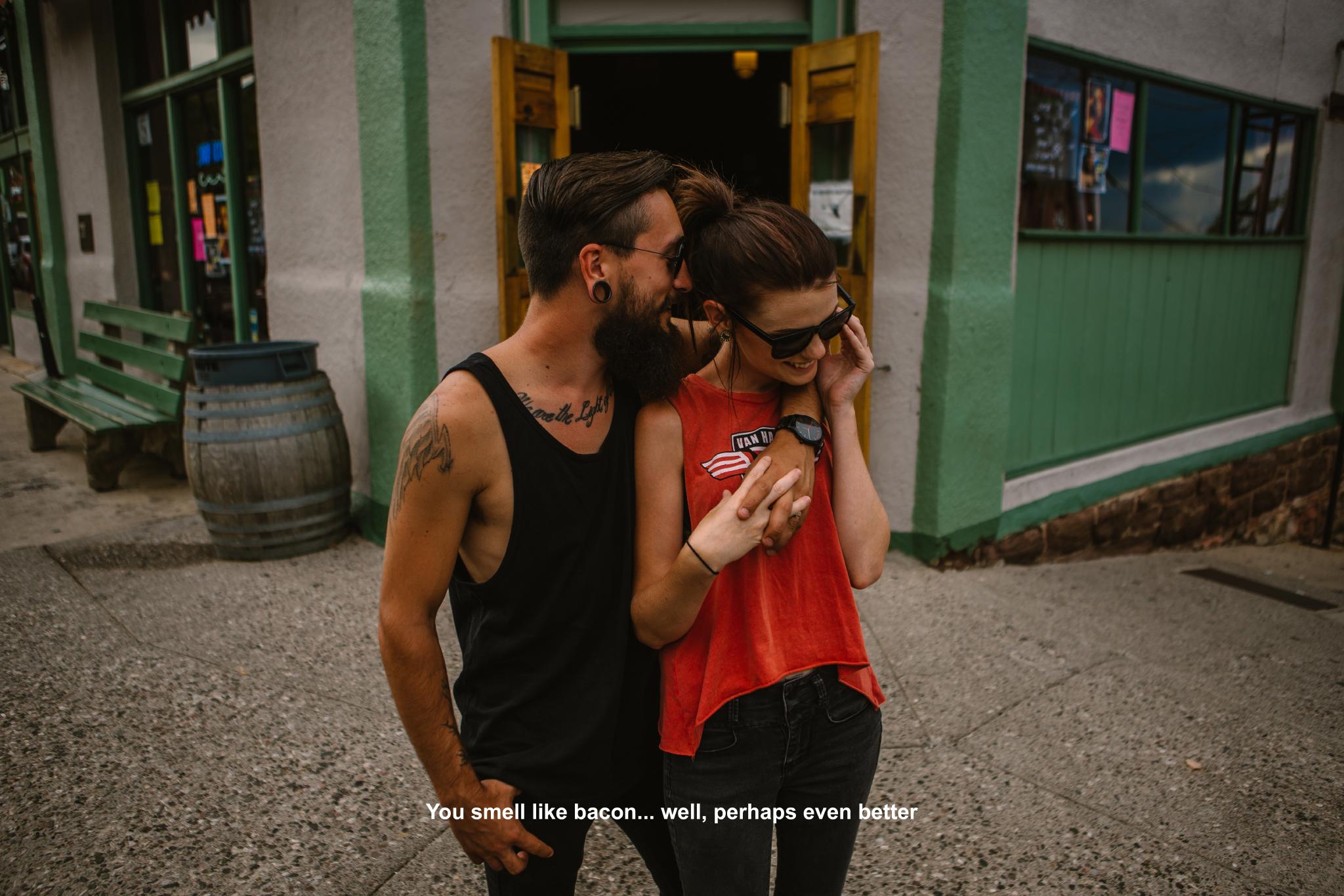 san diego wedding   photographer | bearded man's arm around woman's shoulder on street corner