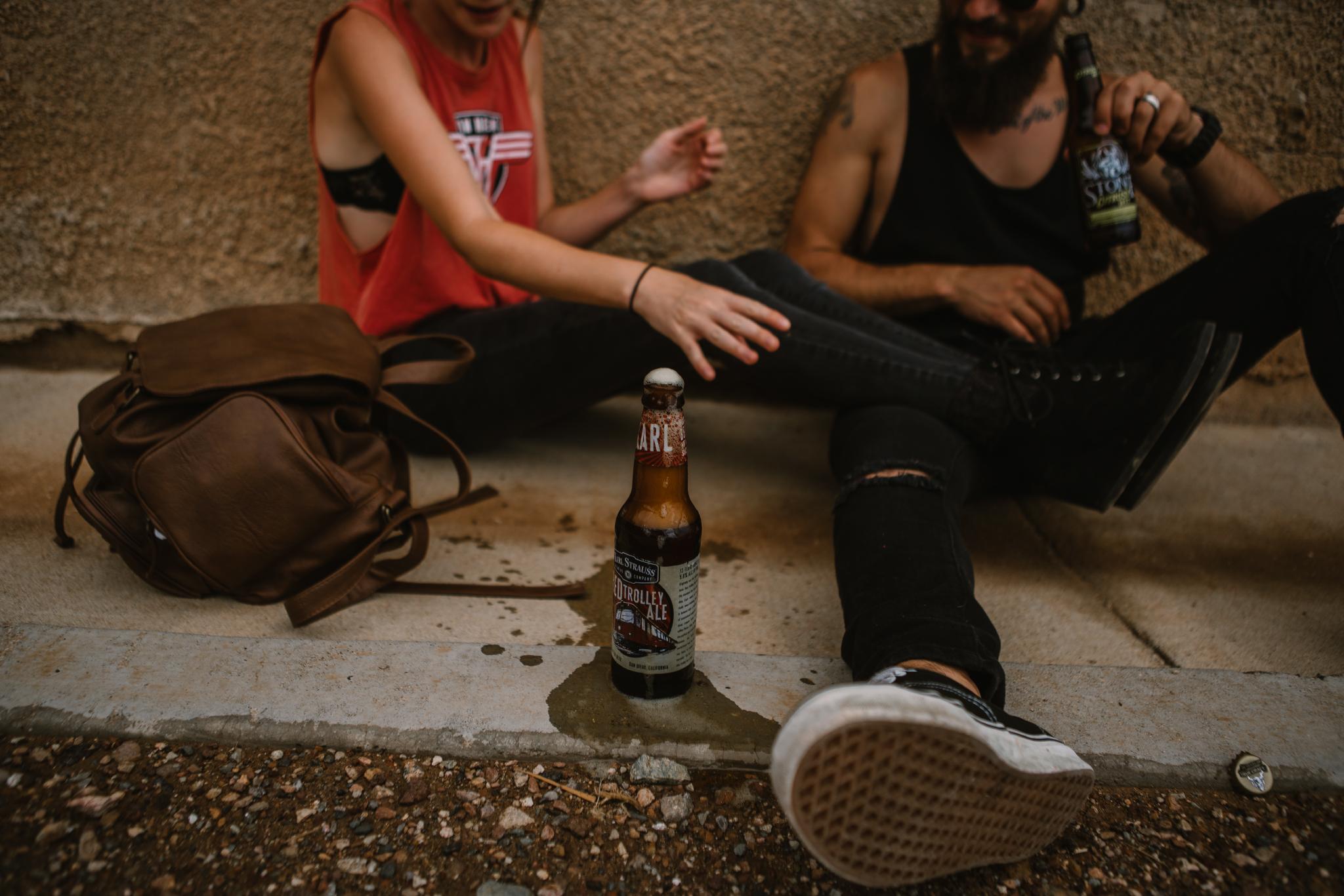 san diego wedding   photographer | beer on sidewalk