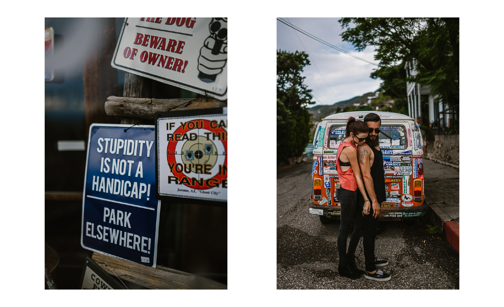 san diego wedding   photographer | collage of signs and couple behind van
