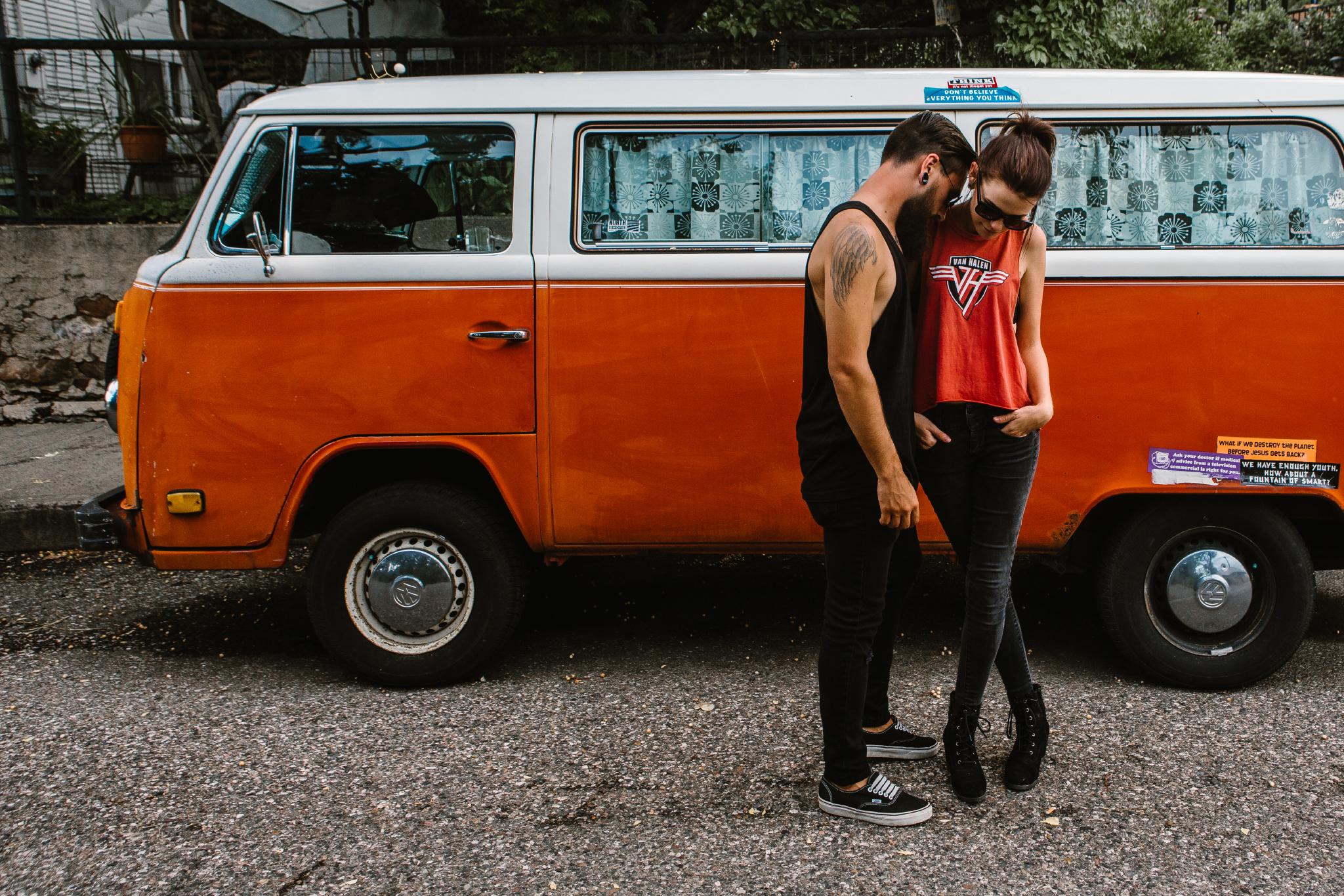 san diego wedding   photographer | couple standing beside white and orange recreational vehicle