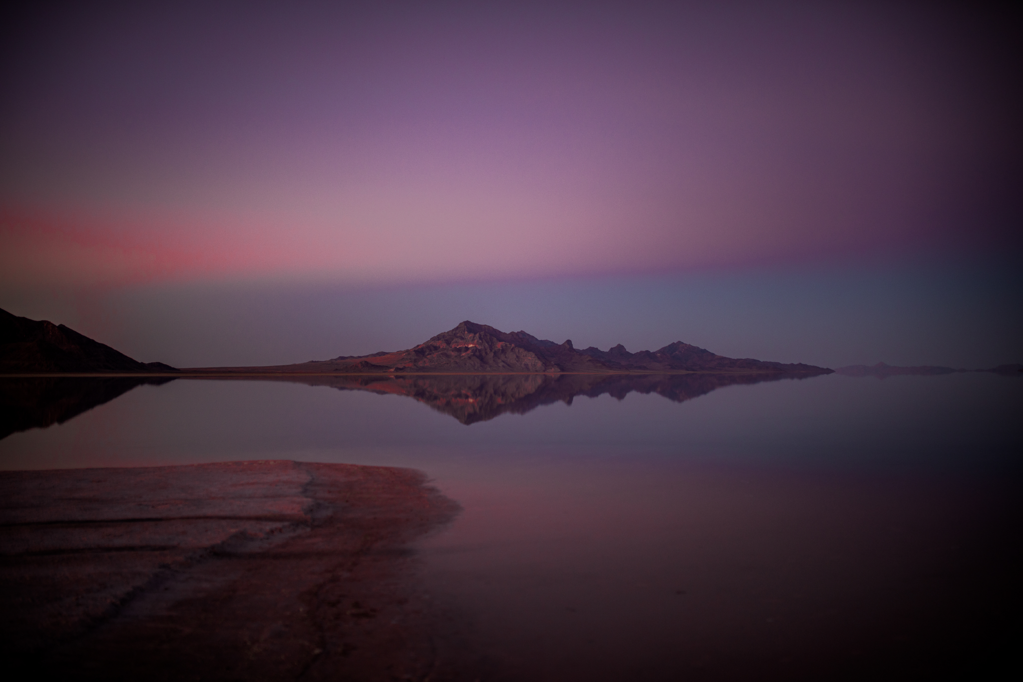 san diego wedding   photographer | bonneville salt flats and purple-blue sky with one mountain   range