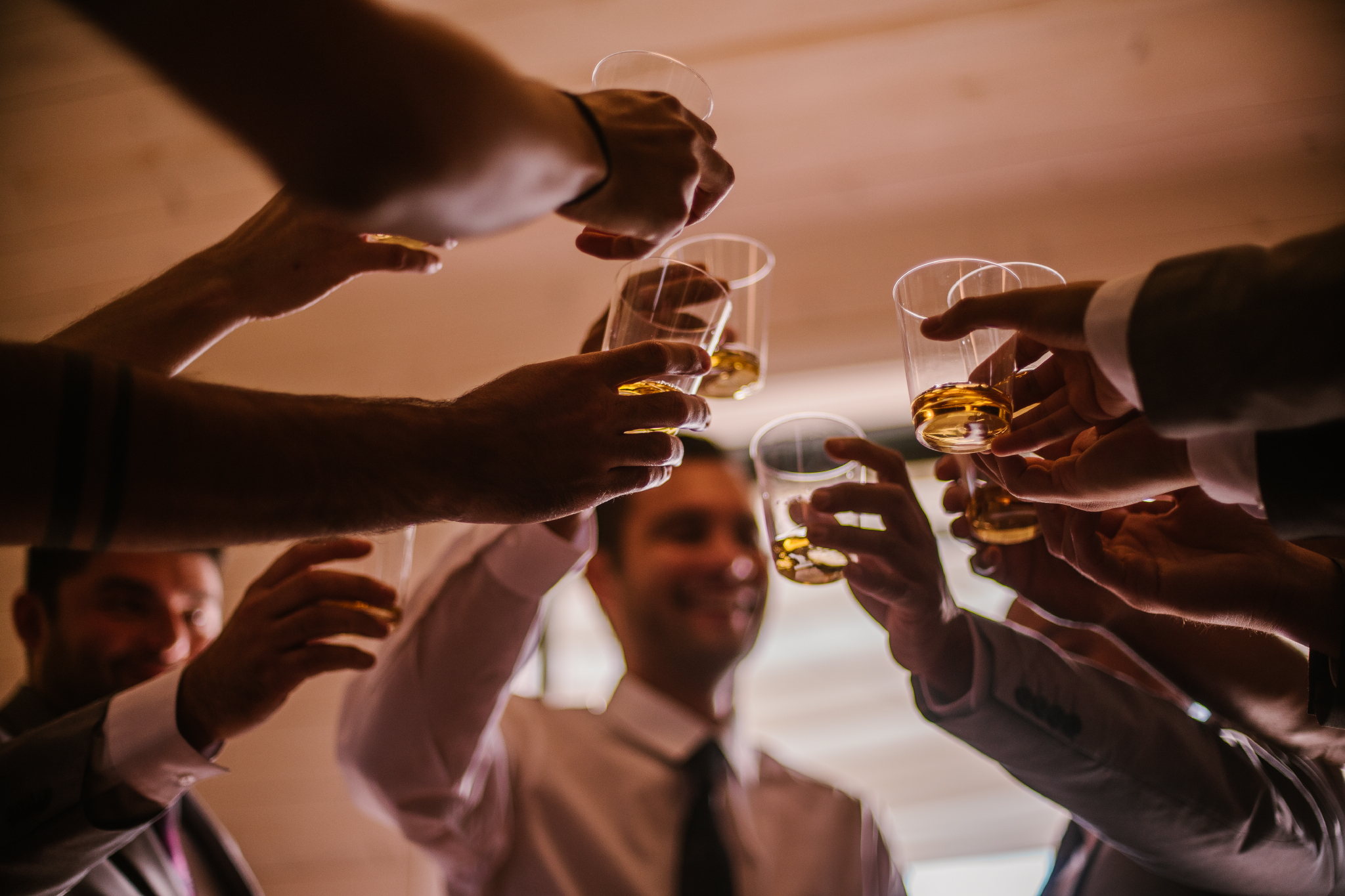 san diego wedding   photographer | closeup of men raising glasses