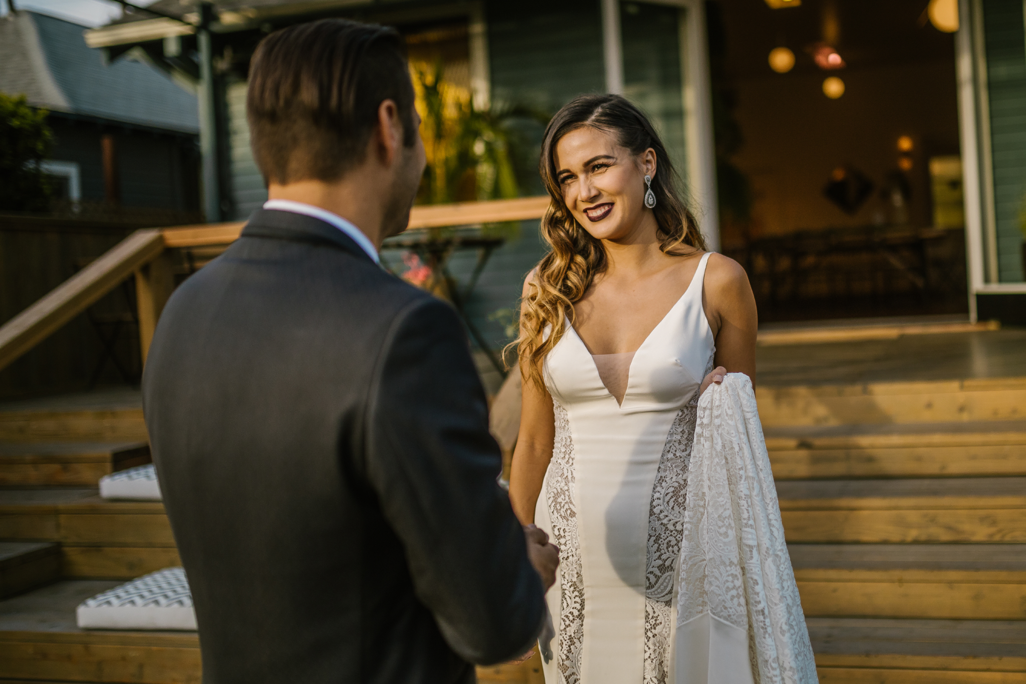 san diego wedding   photographer | bride meeting groom at foot of steps