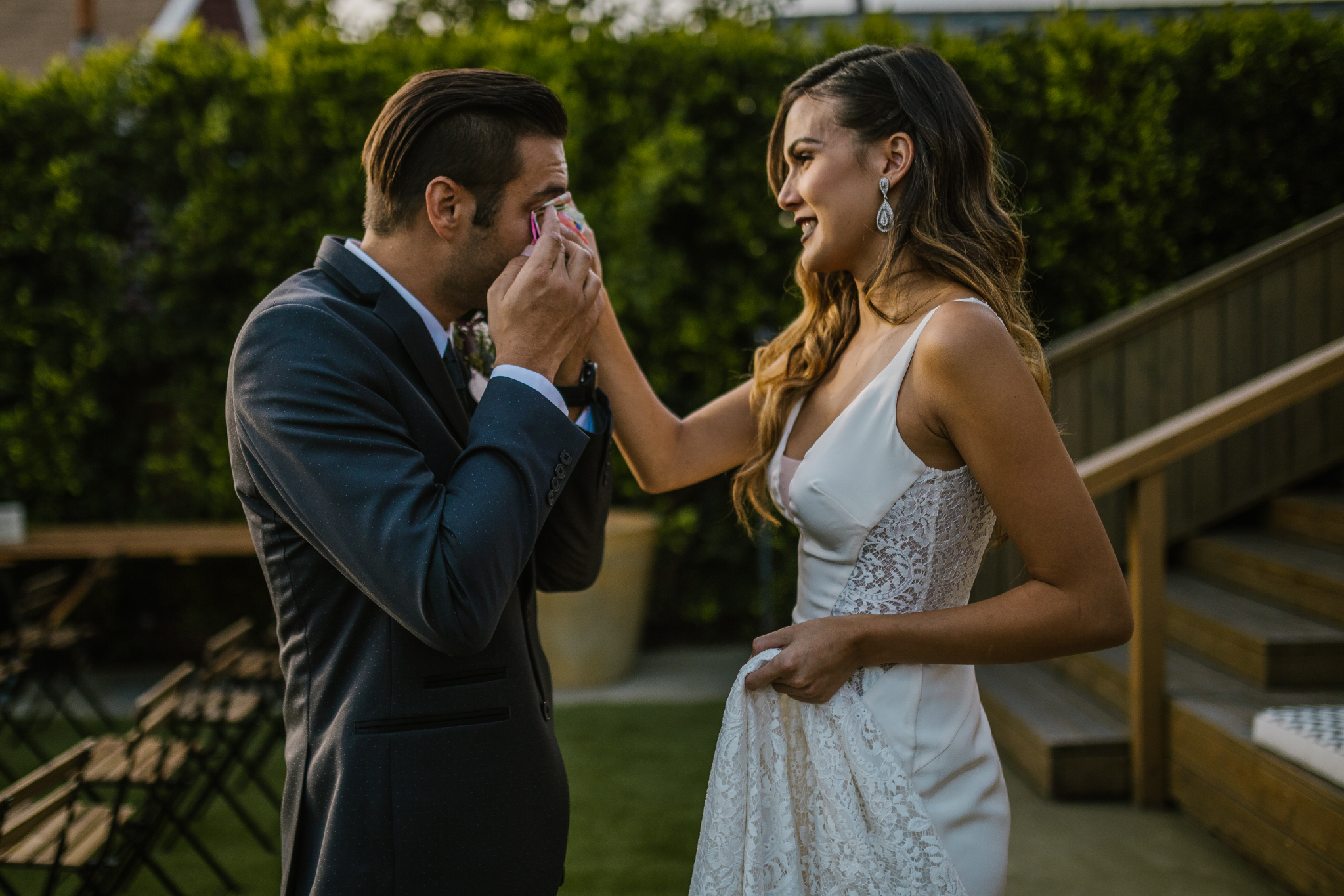 san diego wedding   photographer | bride wiping groom's face