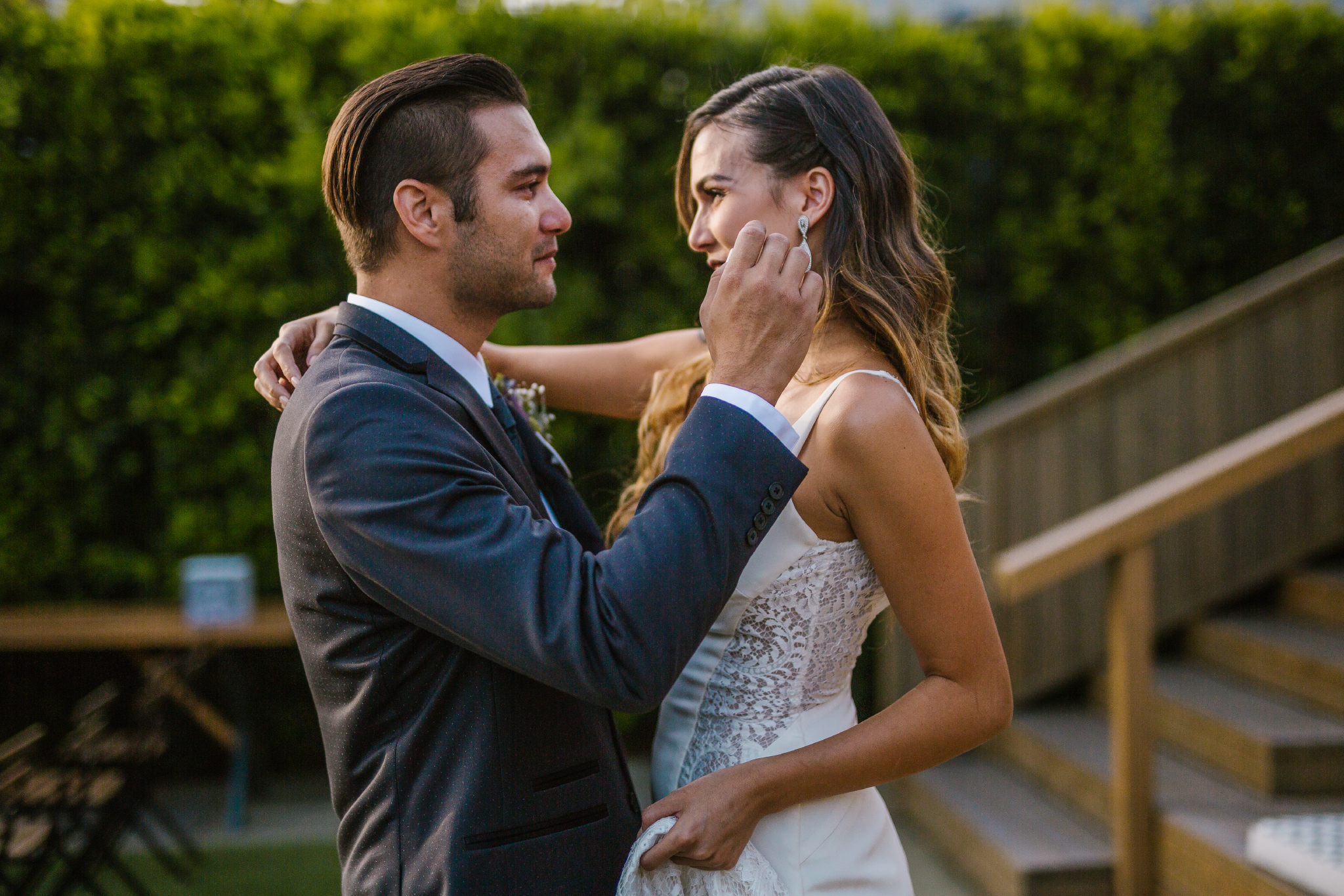 san diego wedding   photographer   groom about to touch bride's face