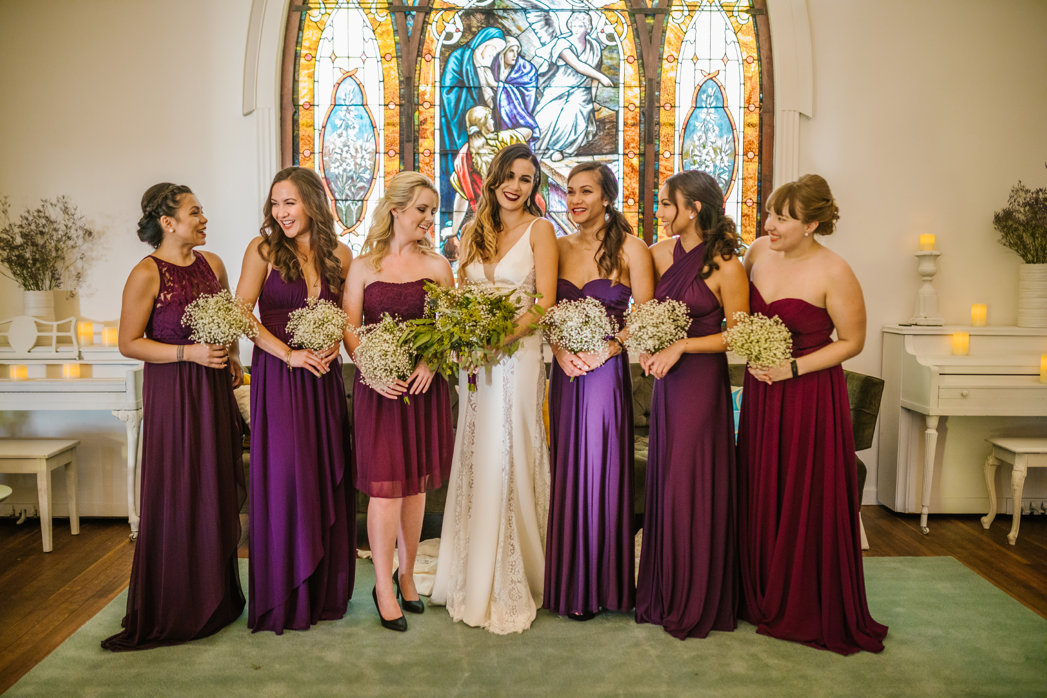 san diego wedding   photographer | bridesmaids in purple with bride