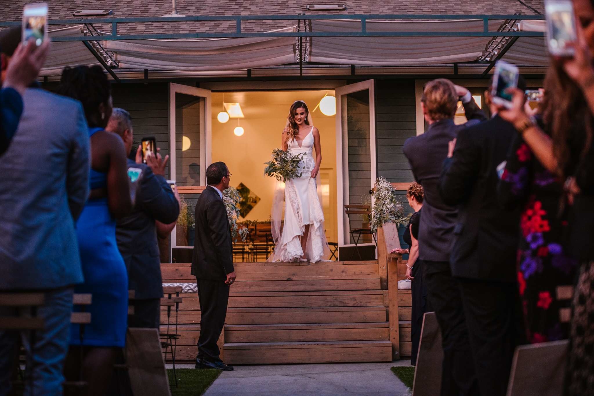 san diego wedding   photographer | bride walking down steps