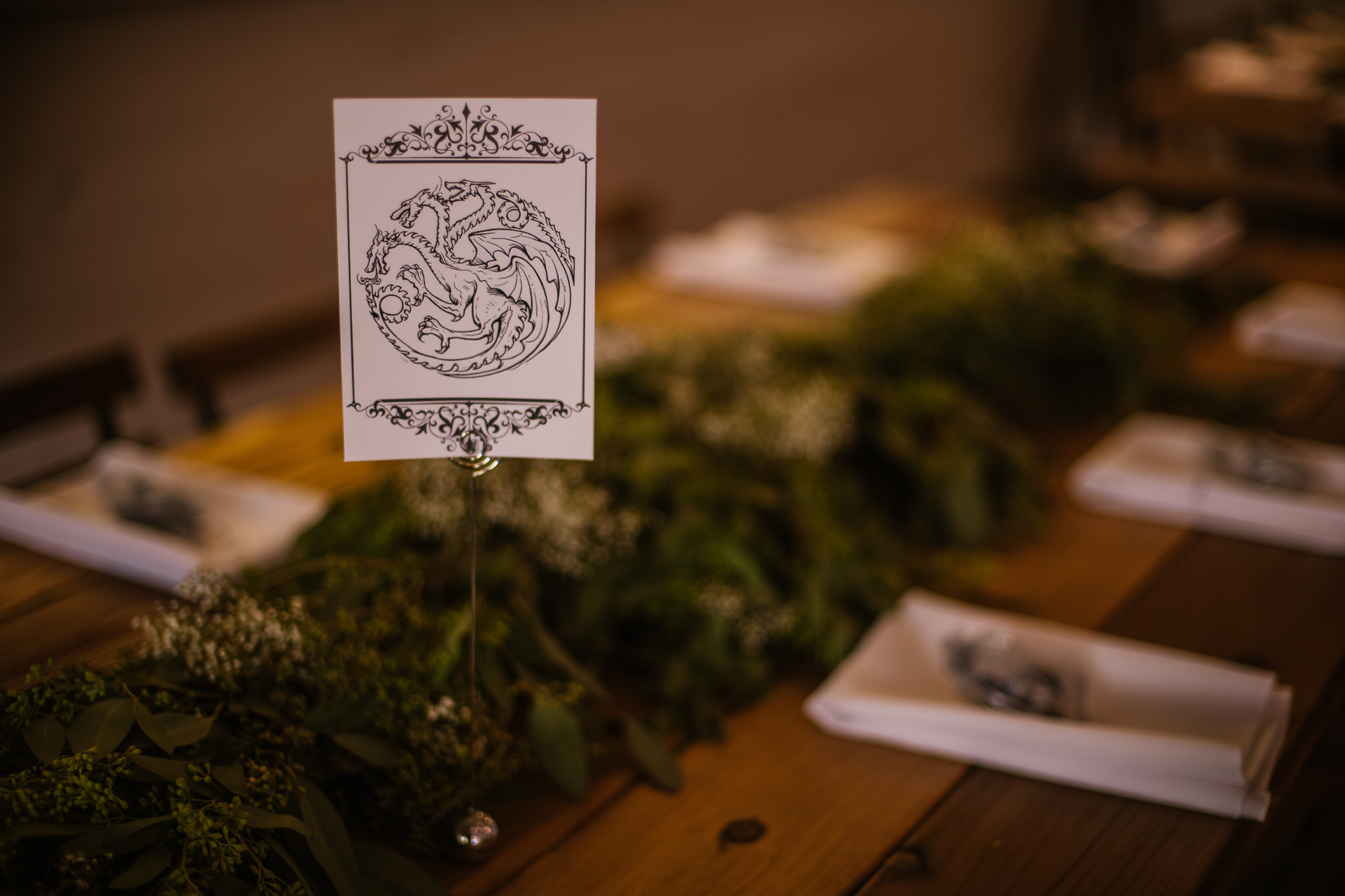 san diego wedding   photographer | collage of table setup with game of thrones symbol