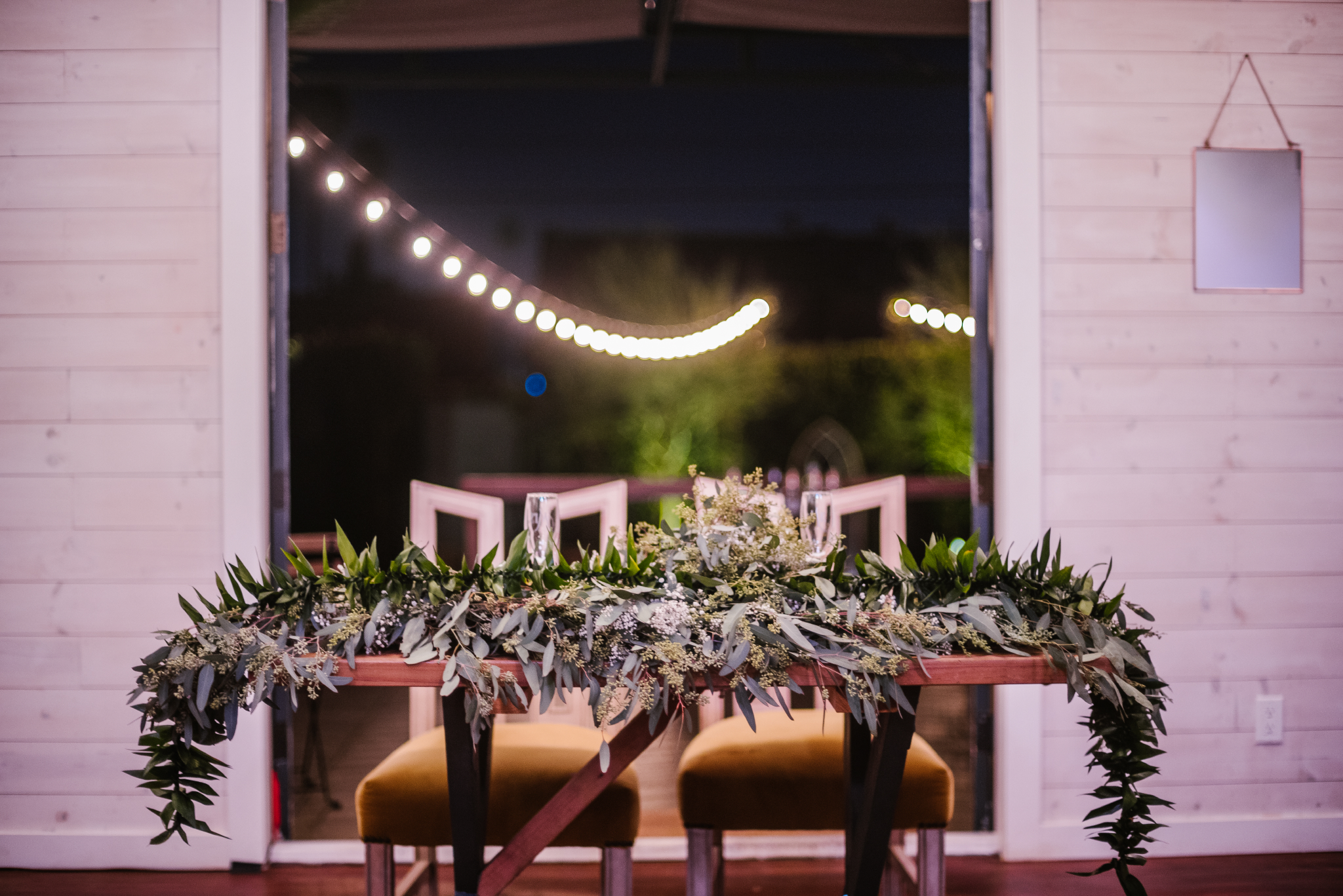 san diego wedding   photographer   table with plant leaves