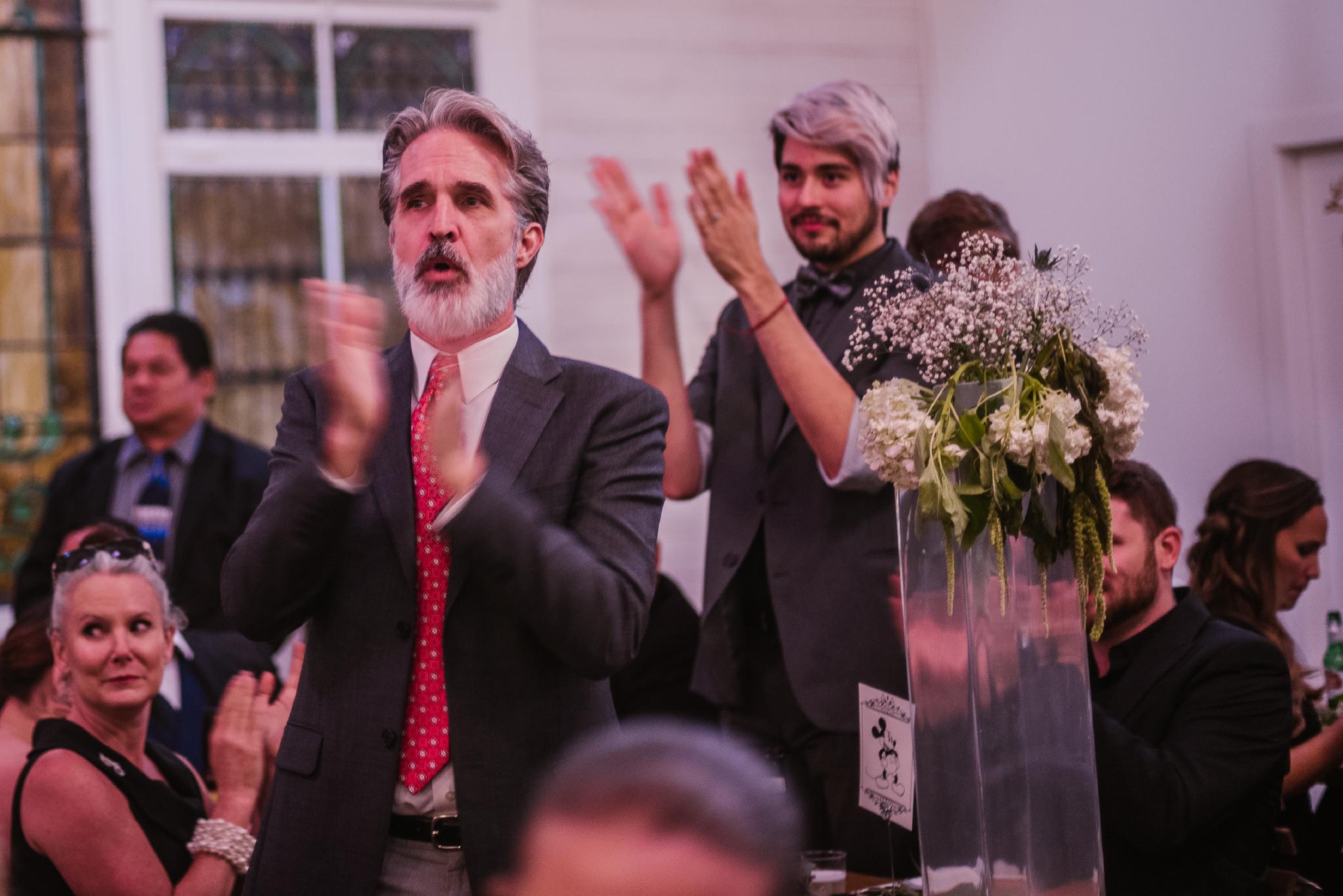san diego wedding   photographer   men with white hair applauding
