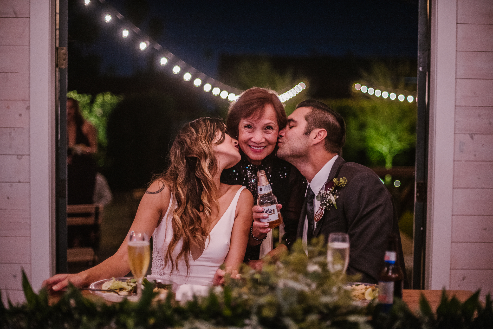 san diego wedding   photographer | bride and groom kissing woman