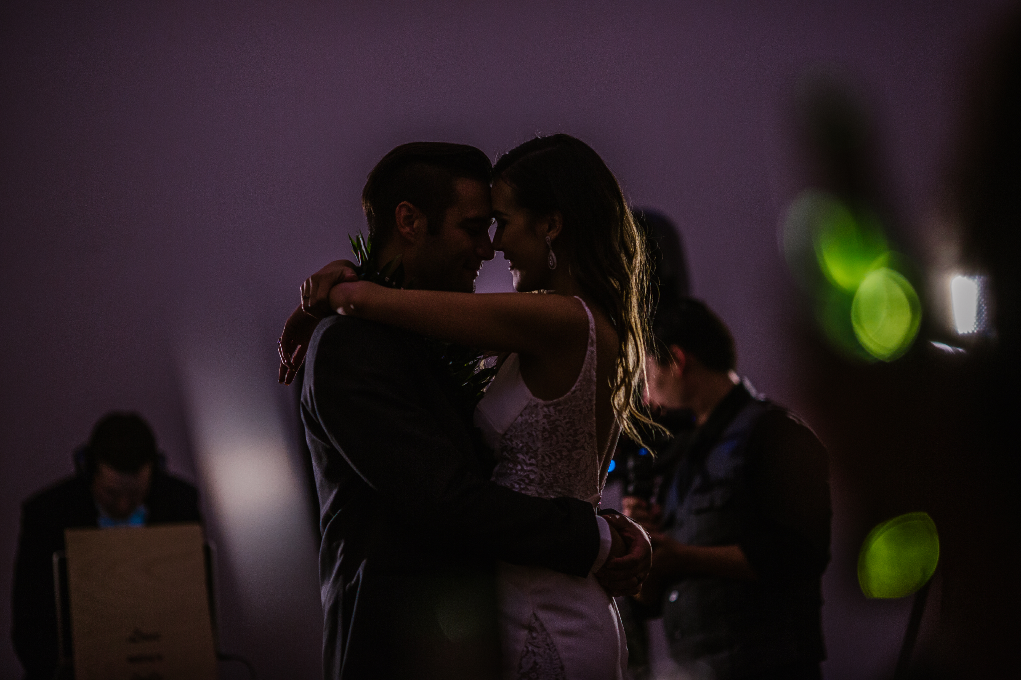 san diego wedding   photographer | low light picture of bride and groom slow dancing