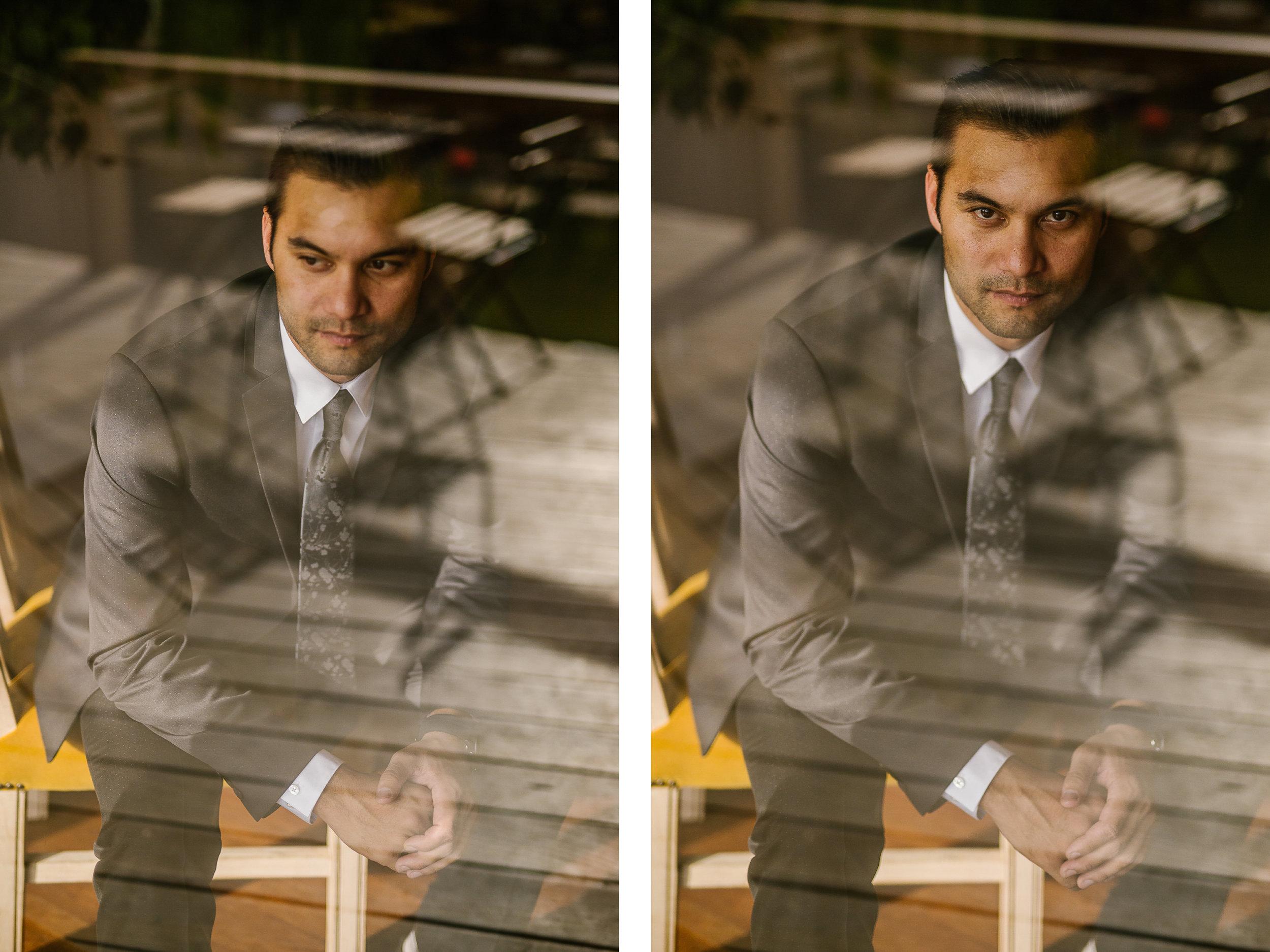 san diego wedding   photographer   groom sitting down looking through glass window