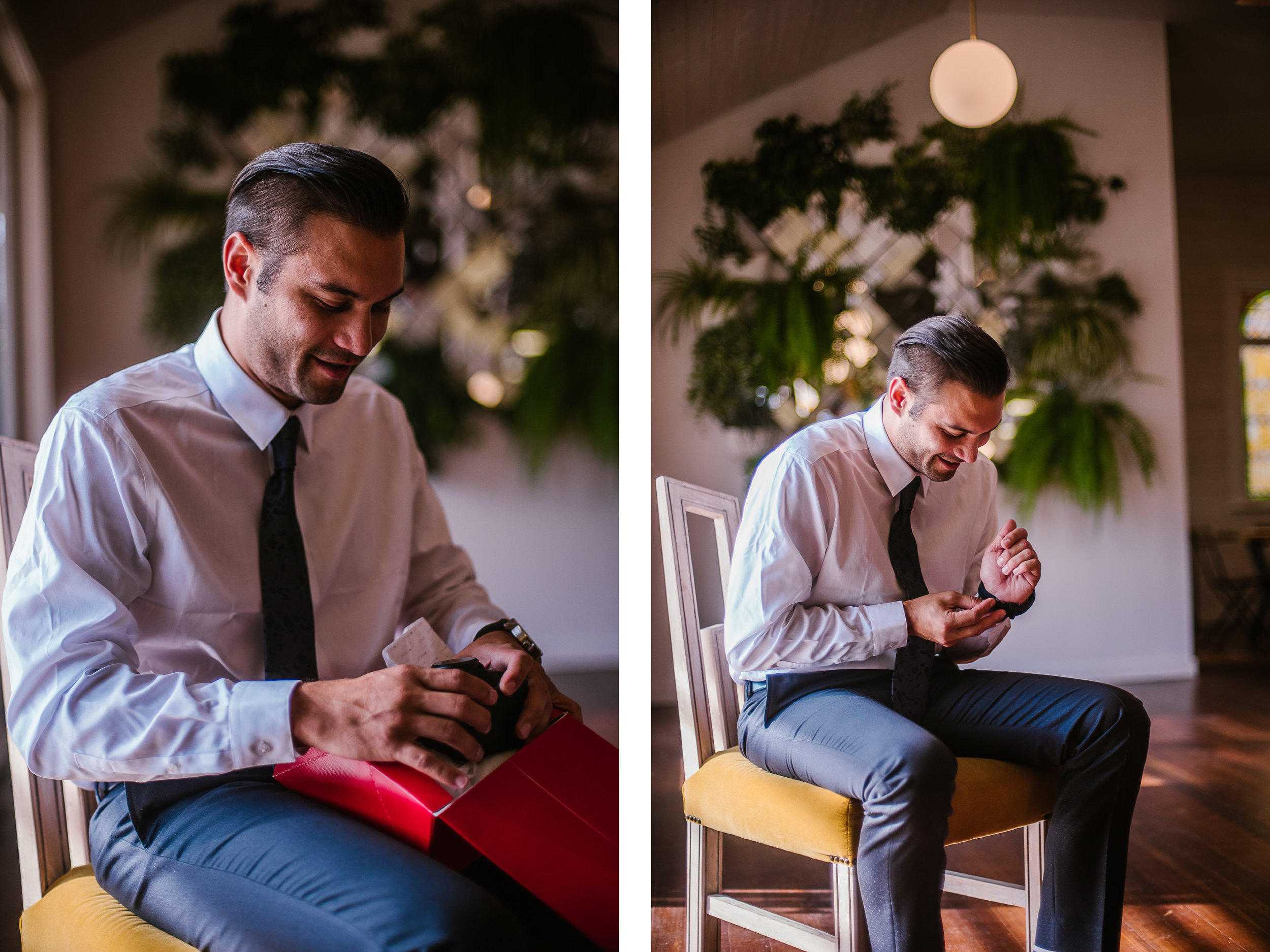 san diego wedding   photographer   collage of man fixing his watch on a yellow chair